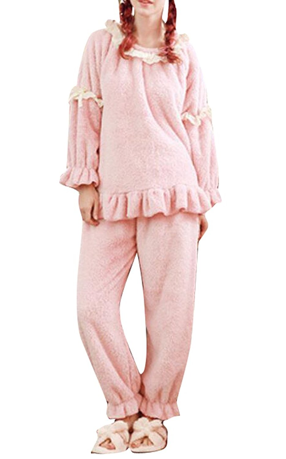 0a7b06da4c Get Quotations · LD Womens Fleece Flannel Pajamas Homewear Long Sleeve  2-Pieces Sets