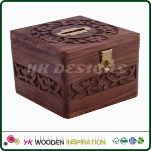 Antique carved wooden money box for Teach Children