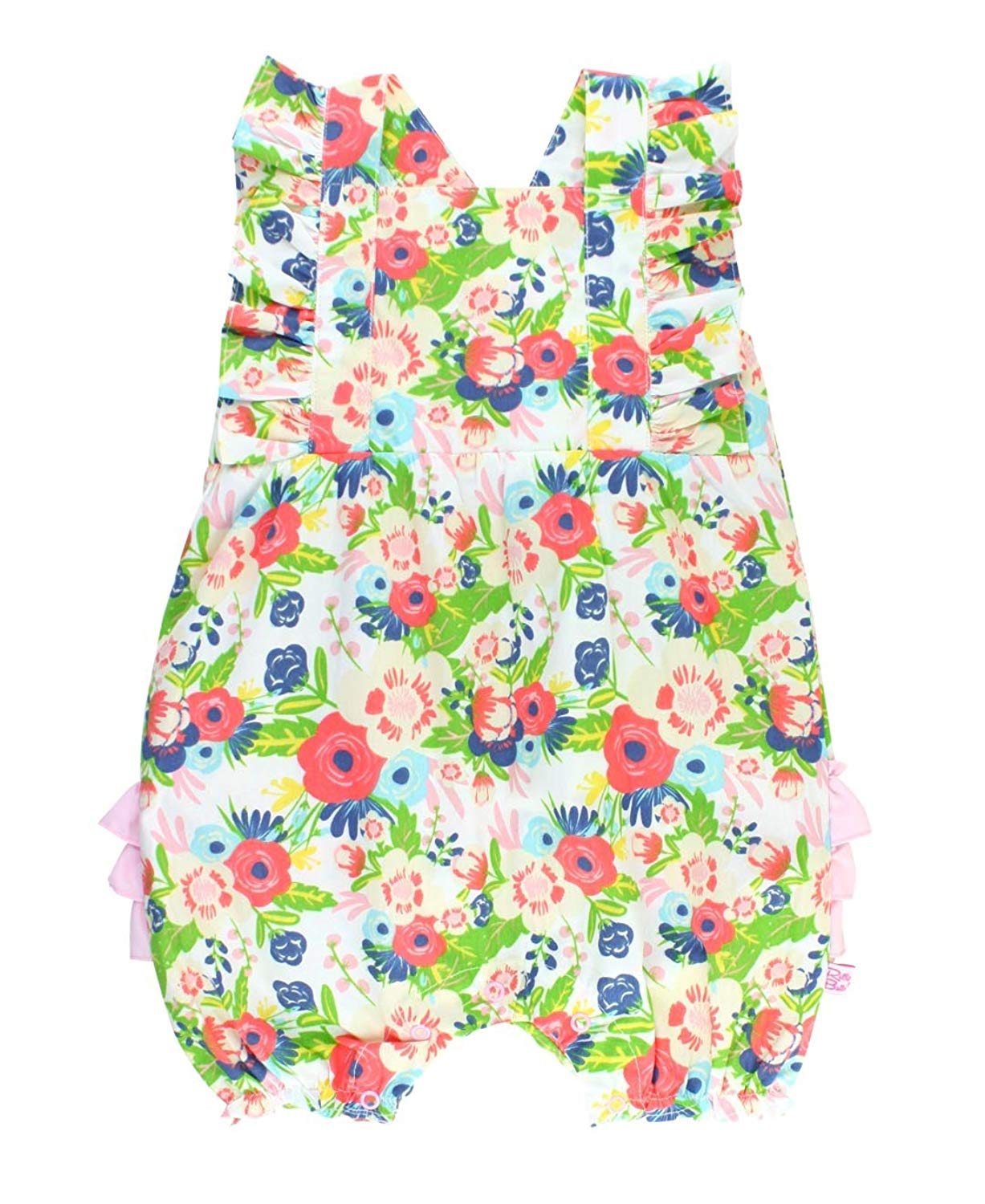 bd6f015a3b9 Get Quotations · RuffleButts Baby Toddler Girls Floral Cross Back Bubble  Romper One-Piece w Pink