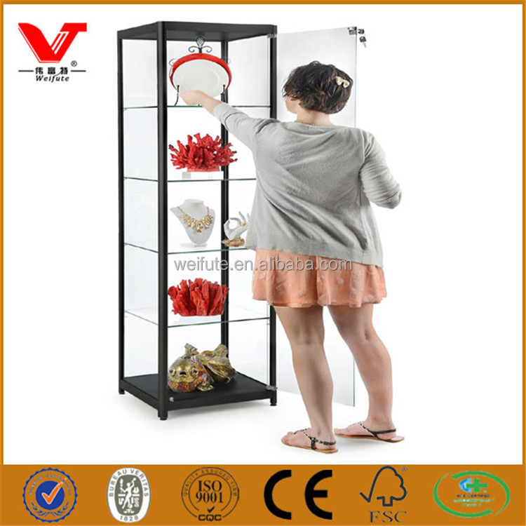 Alluminum frame cheap classical jewelry glass display showcase with LED lighting