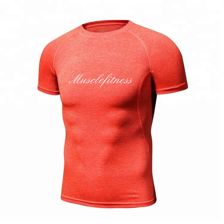 China wholesale dry fit 95% poliéster 5% spandex esporte muscle fit camisa dos homens t