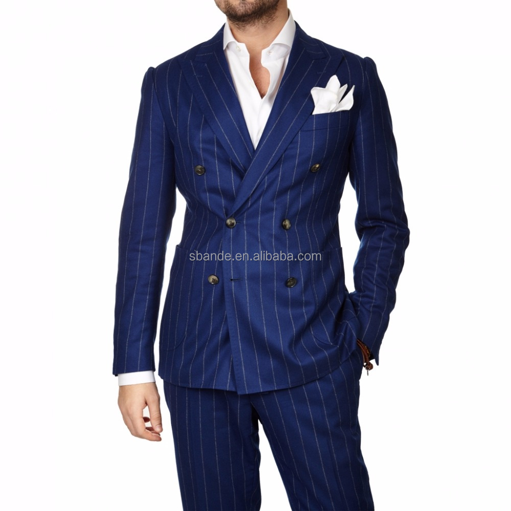 High quality stripe blue men's fashion bespoke custom made 100% wool cashmere men business suits