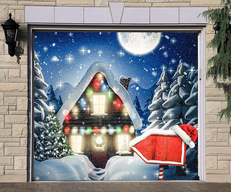 Christmas Door Covers.Buy Walltattoohome Christmas House Single Garage Door Covers
