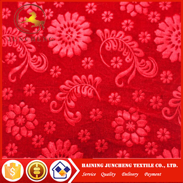 Zhejiang 2017 popular wholesale various flower design 3D embossed korea velvet fabric for women dresses