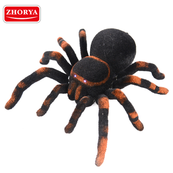 zhorya 4 channel simulation black remote control rc robot spider toy with light eye glow
