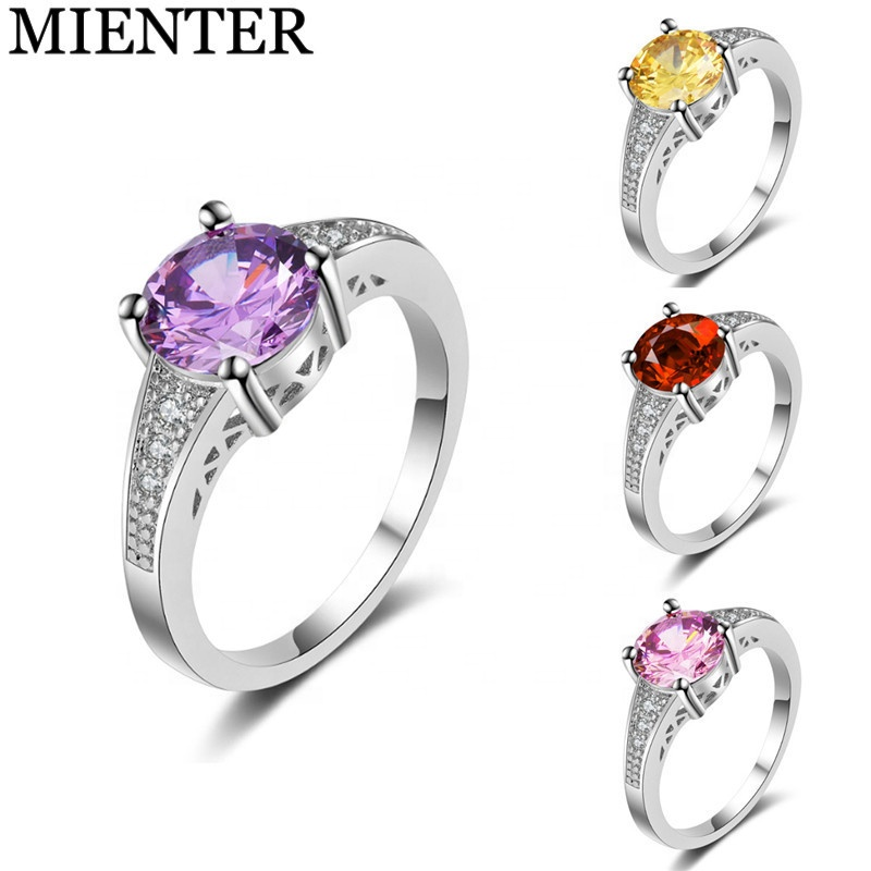 Fashion women accessories elegant lady <strong>ring</strong> plating platinum inlay zircon amethyst <strong>rings</strong>