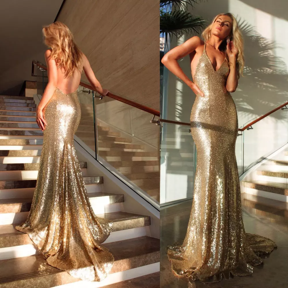 WD-20 Convertible Custom Made Sequin Golden Formal Bridesmaid Dress Party Gowns Long Gold Evening Gowns 2018