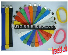 colorful bracelet pen drive , wristaband usb stick , logo printing usb wholesaler