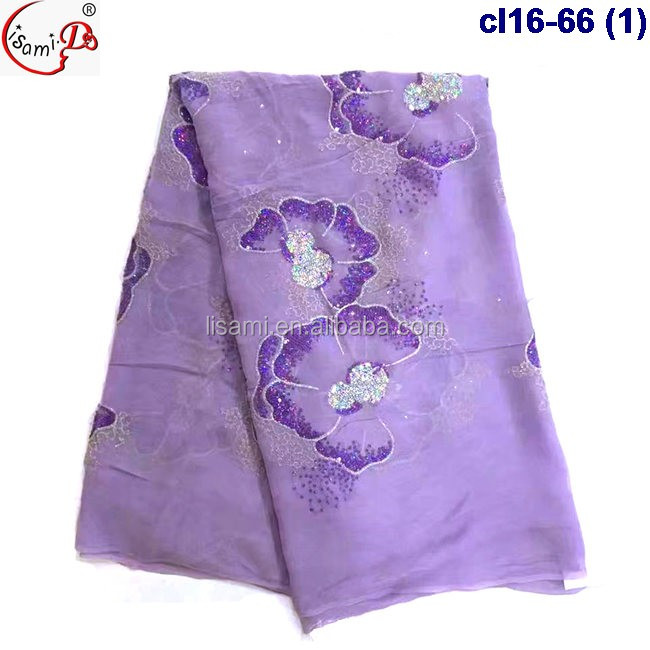 purple real silk fabric beaded with stones and sequins embroidery silk material CL16-66