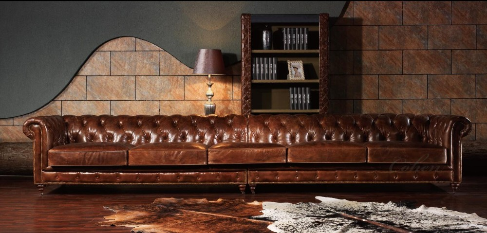 Top Quality Leather Long 3 Seaters Vintage Chesterfield Sofa