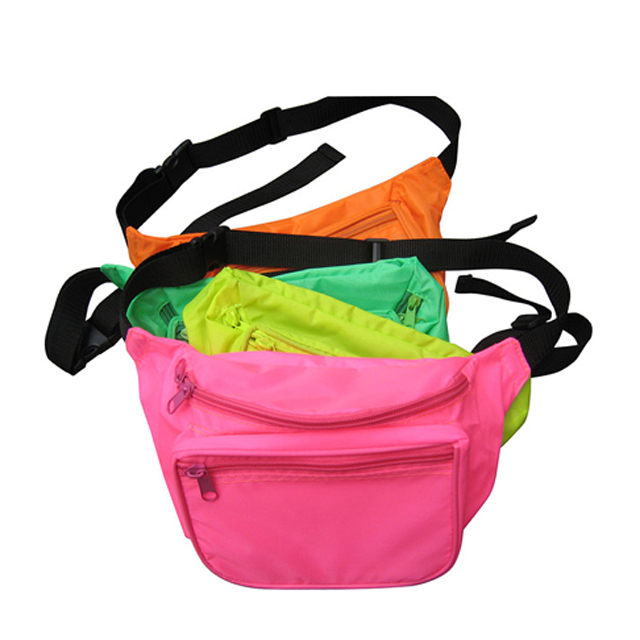 Promo Colorful Nylon Sport waist bag, Printed design Neon fanny pack