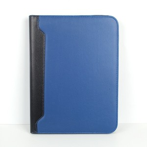Blue PU leather notebook currency gift sets with zipper and calculator