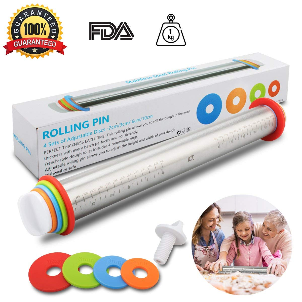 Rolling Pin Spacers French Rolling Pins for Baking Adjustable Rolling Pin With Thickness Rings Dough Roller For Cookie Pastry Pizza