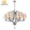 NICE lighting European style 40W E14 Cream satin shade crystal led modern metal chandelier