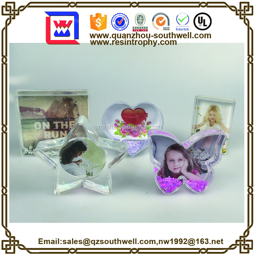 plastic photo snow picture frame water globes wholesale
