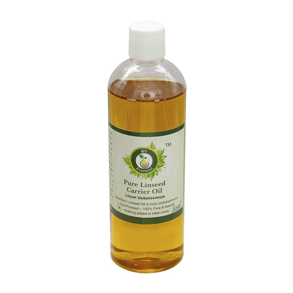 R V Essential Pure Linseed Carrier Oil 100ml (3.38oz)- Linum Usitatissimum (100% Pure and Natural Cold Pressed)