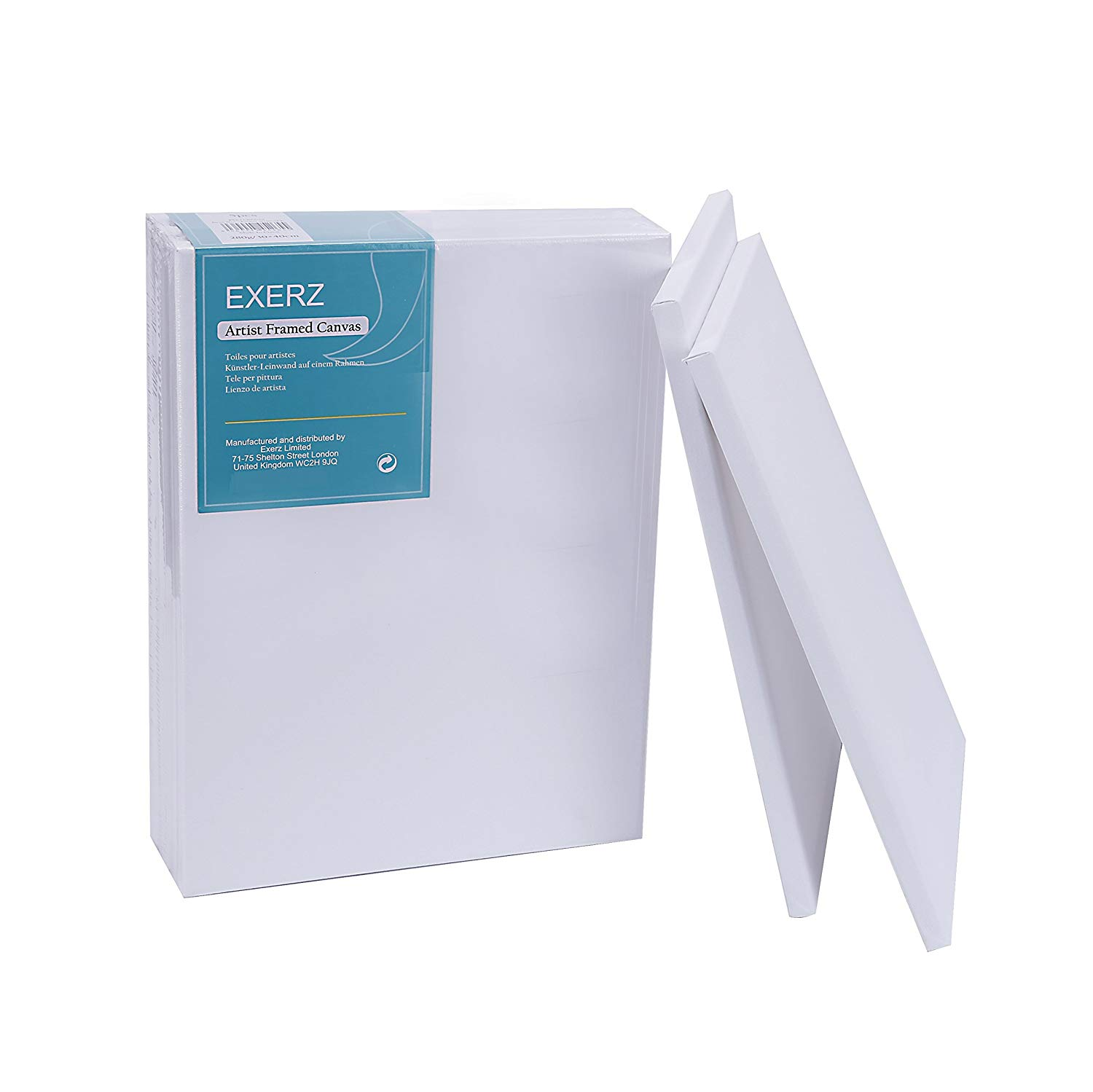 "Exerz E5309-3040-5 Artist Framed Canvas 5 Pack / 16"" x 12"" / 40 x 30cm 280GSM/ Pre-Stretched 100% Cotton/Blank / Triple Primed/Acid Free/Medium Grain/ 1.7 cm Thick"
