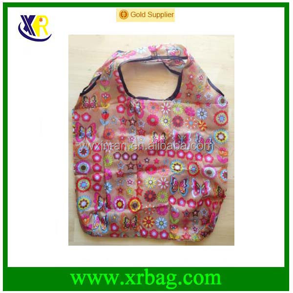 Mix Butterfly Flower Print Eco Friendly Foldable Reusable Grocery Portable Recycle Nylon Shopping Bag