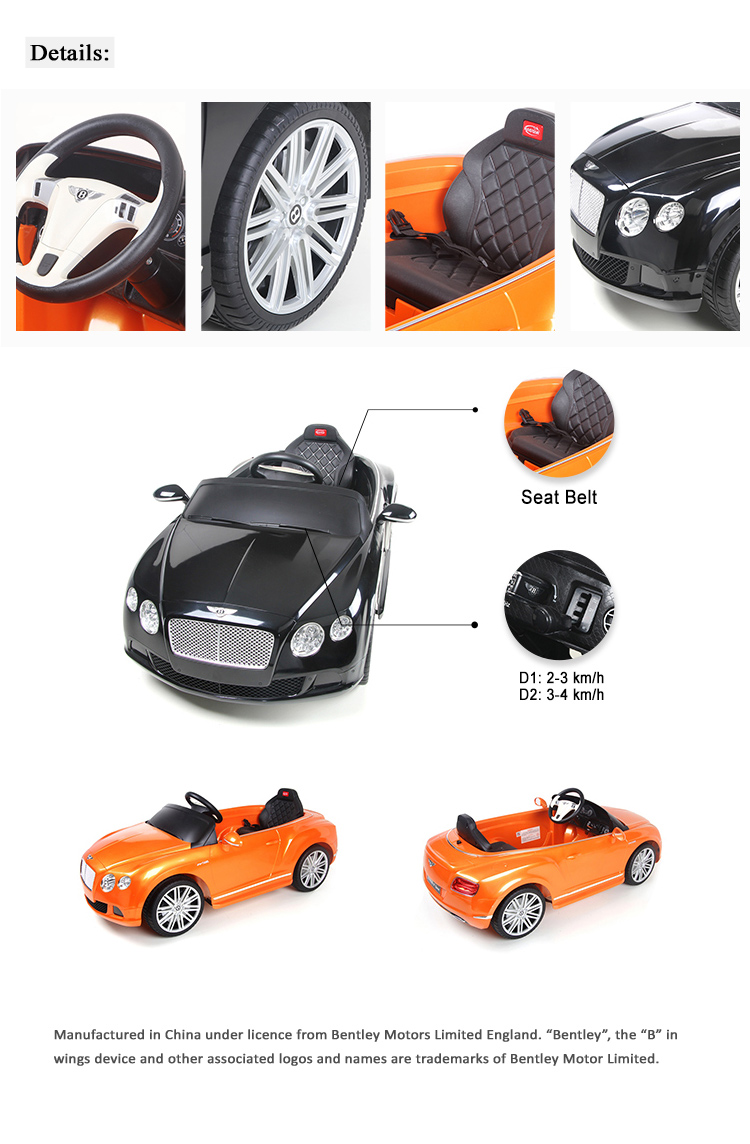 RASTAR 82100 Bently GTC radio control and 12V battery powered electric ride on car