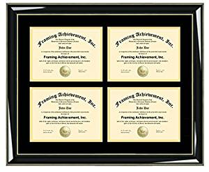 License Four Document Degree Frame College University Quad 4 Certificate Double Holder Majestic Black Gold Accents Wood 8.5x11