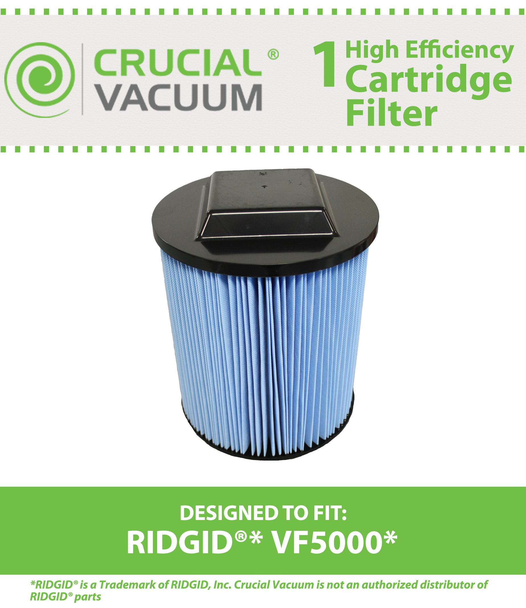 Think Crucial Replacement for Ridgid VF5000 Filter Cartridge Fits 6-20 Gallon Wet & Dry Vacuums, Compatible With Part # VF5000, Washable & Reusable