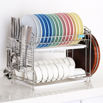 Foldable Bamboo organization Utensil Holder 2 tier plastic Wooden draining rack Supplies Dish Wire Display Drying Frame