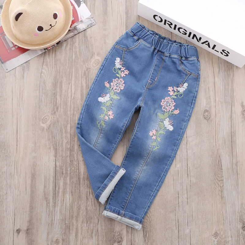 2017 Hot new china jeans al por mayor children embroidered cotton jeans