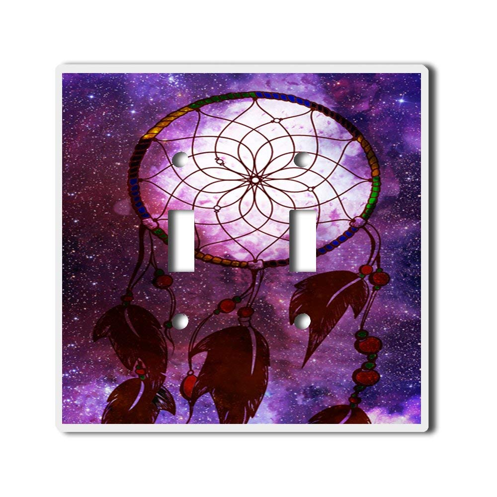 Light Switch Double Toggle Wall Plate Cover By InfoposUSA Purple Galaxy Dreamcatcher
