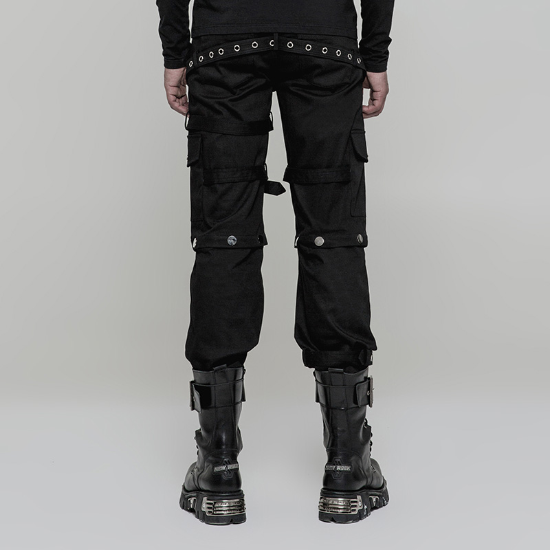 WK314 pantalon punk rock music player métal pantalon à jambes larges hommes