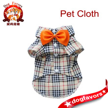 Moda Casual Dog Plaid Shirt Gentle Dog Occidentale Shirt Vestiti Del Cane Dog Shirt + Bow Trasporto libero, Giallo, M: Forniture Per Animali Da Compagnia