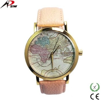 Fashion World Map Watch Big Dial Factory Price Odm/oem Leather Band Watches  - Buy Fashion World Map Watch,Oem Leather Band Watches,Geneva Leather Band  ...