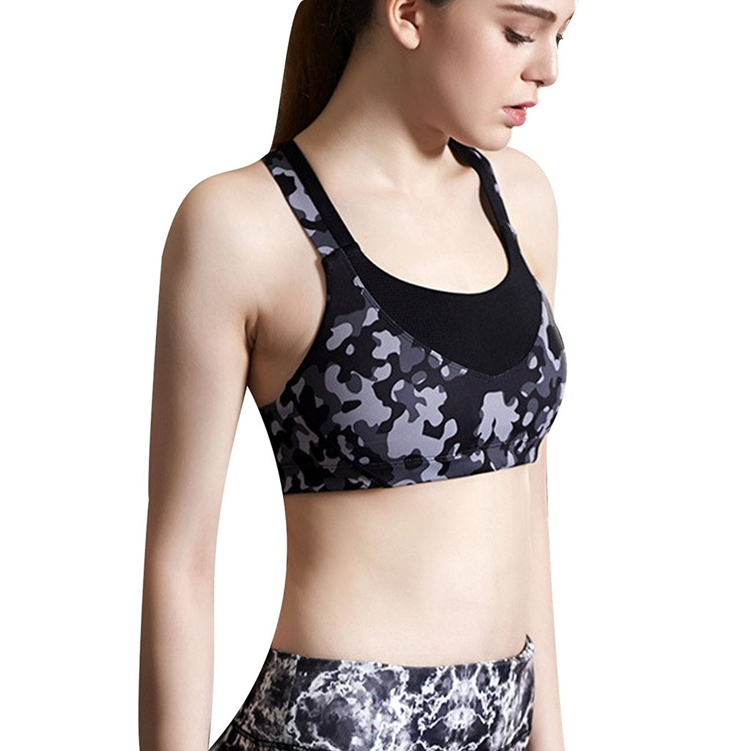 3db828a92e479 Get Quotations · Beepeak Women s Camo Pinted Padded Fashion Cross Back Crop  Top Yoga Sports Bra