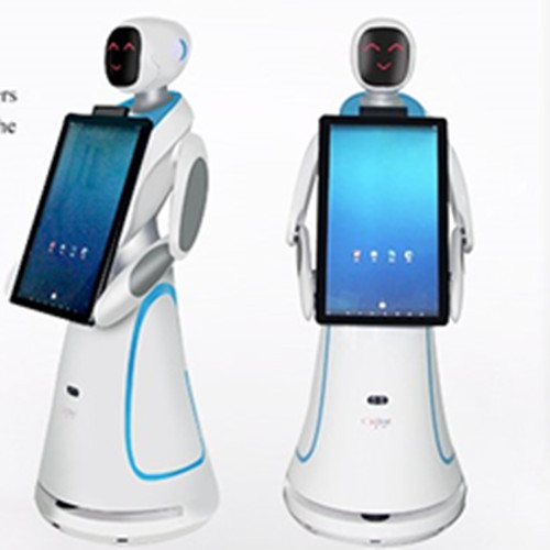 humanoid waiter robot with big screen for greeting and guiding customer