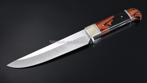 Eagle shape brass guard pakka ebony wood handle drop point fixed blade knife for hunter