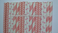 50 Mixed Light Pink Striped, Chevron and Polka Dot Paper Straws- Baby Girl Shower Decorations- Birthday Party, Cake Pops, Bridal