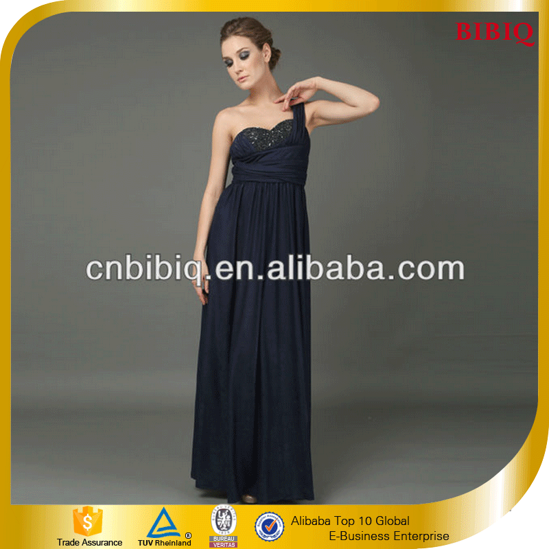 New 2016 Trendy Evening Dress One Shoulder Beading Pleated Long Chiffon Dresses