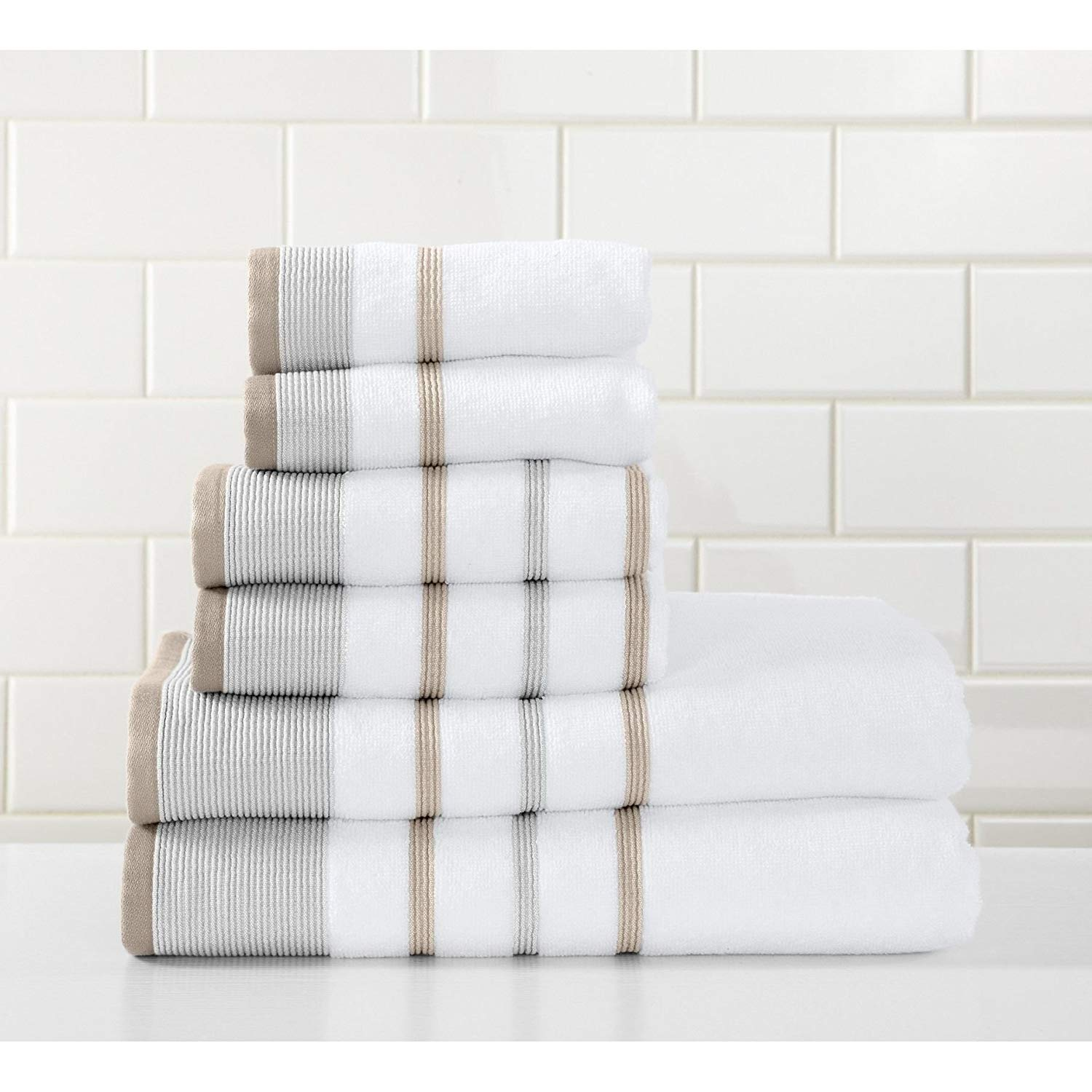 6 Piece Glacier Grey Stripe Towel Set With 30 X 54 Inches Bath Towels, Cappuccino Beige White Striped Solid Color Ultra Plush Elegant Sophisticated Fade Resistant Trendy Long Lasting, Turkish Cotton
