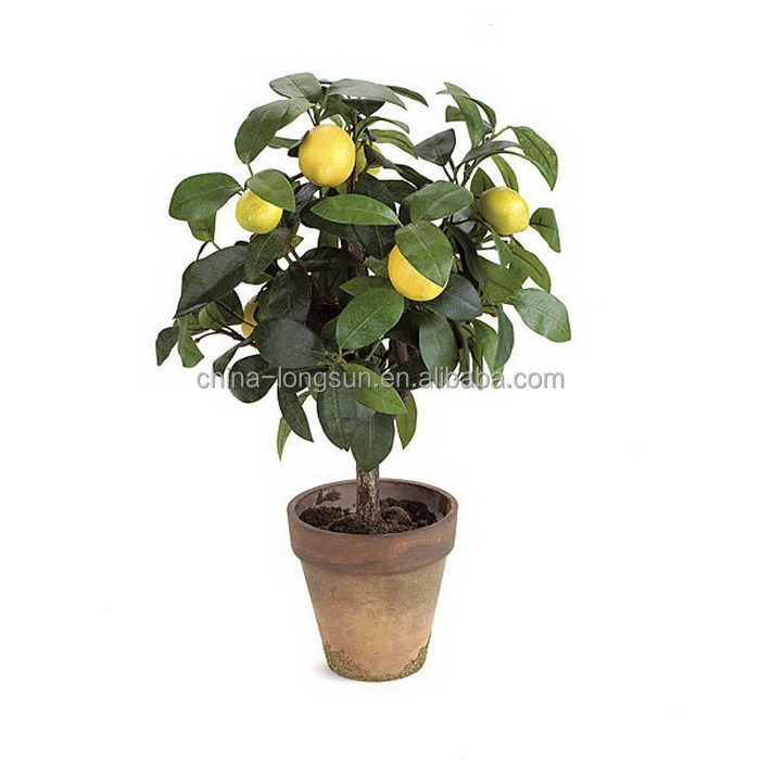 WS16041627 high imitated hot sell small size artificial plastic fake lemon fruits bonsai