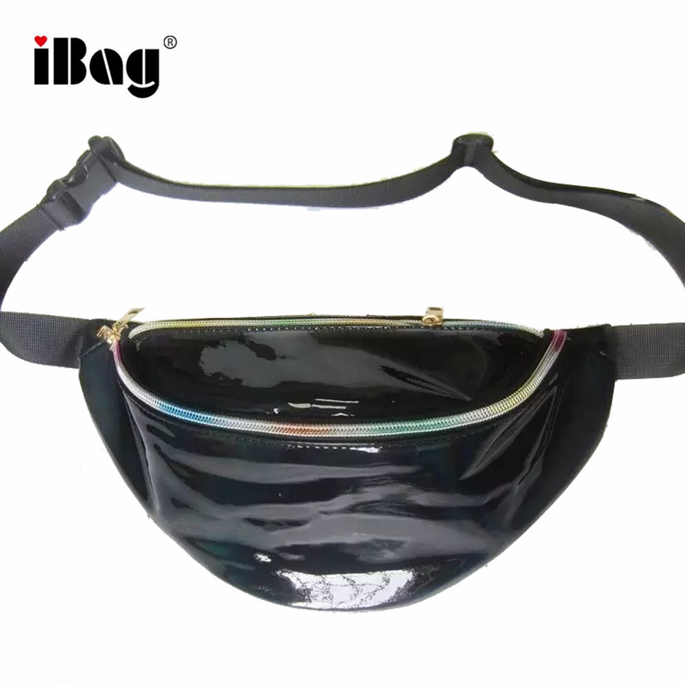 Hot Sale Silver Holographic PU Leather Fanny Pack Ladies