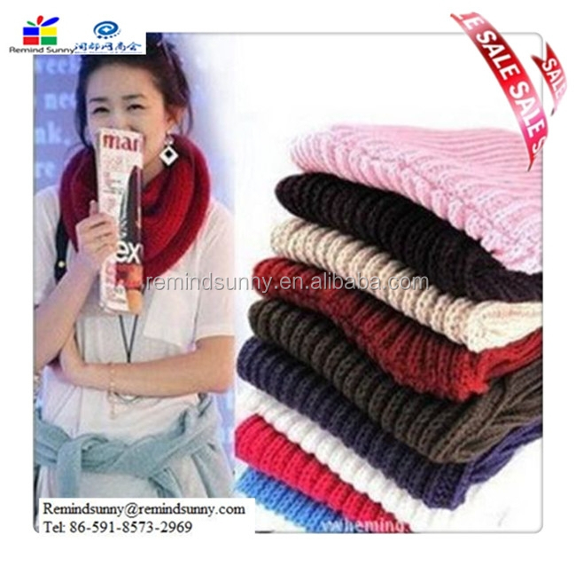 2015 New Fashion Women Winter Warm Infinity 1 Circle Cable Knit Cowl Neck Scarf Shawl