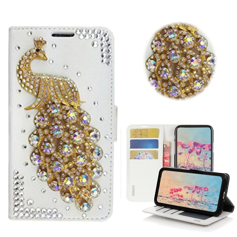 STENES Bling Wallet Case Compatible with Sony Xperia 1 3D Handmade Crystal Bowknot Key Rose Bag Crown Magnetic Wallet Leather Cover with Cable Protector Stylish 4 Pack - Pink