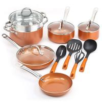 14 Pieces Nonstick Ceramic Copper Cookware Set Fry Pans and Kitchen Cooking Utensils, Sauce pan