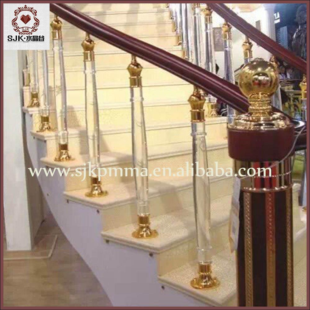 fancy crystal glass stair handrail    clear acrylic stair pillars for villa
