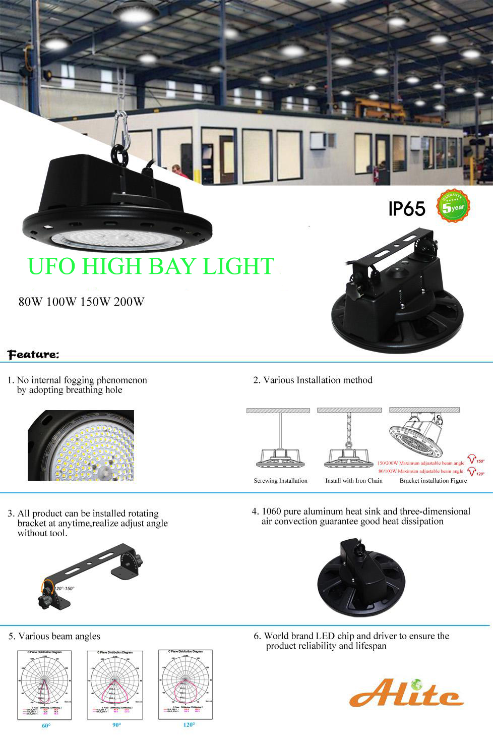 200W 28000lumen LED High bay Light High Temperature industrial high bay light from shenzhen led