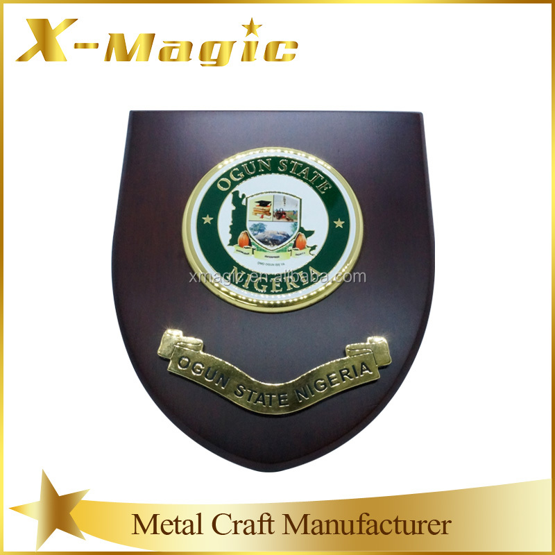 Custom Wooden Shield Plaque With Metal Award Trophy Plate