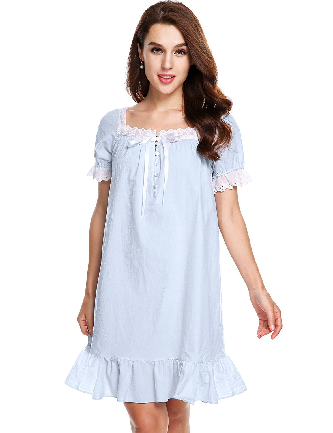 0c84a67d6e Get Quotations · Avidlove Womens Cotton Victorian Vintage Short Sleeve White  Classic Nightgown Sleepwear