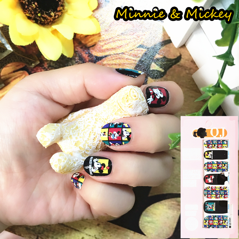 Yellow Black Cute Mouse child Nail Arts Nail Sticker Waterproof Nail Decal Sticker Gel Polish French