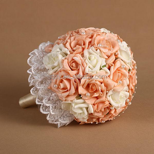 Laranja Pe Rose Buquê De Noiva Buquê De Flores Para O Casamento Com Strass  Broche   Buy Product On Alibaba.com