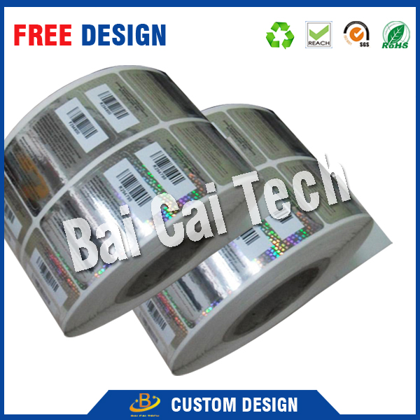 Top quality reasonable price 3d 2d custom holographic barcode labels