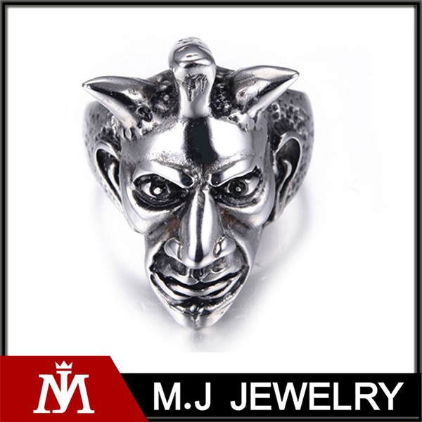 Silver Tone Stainless Steel Wolf Head Men's Ring